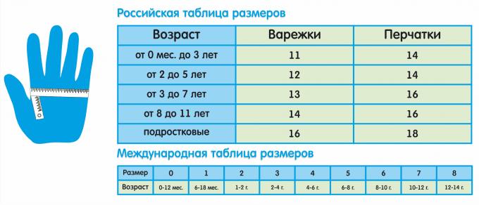 таблица Российских и международных размеров
