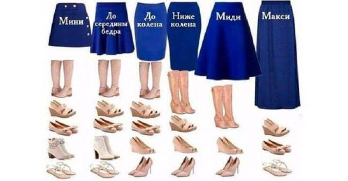 к юбке подбирают подходящую обувь