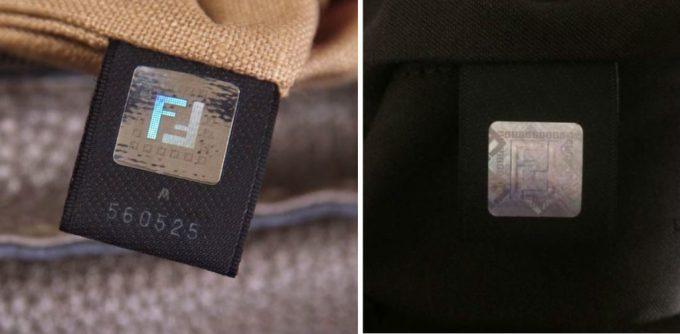 Поддельный и настоящий логотип сумки Фенди