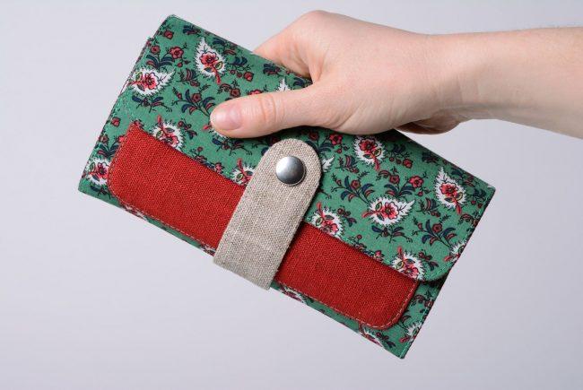 кошелек из ткани в цветочек