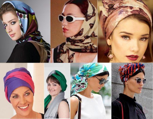 варианты для завязывания платка на голове