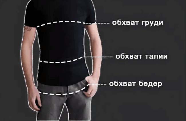 измерение одежды для мужчин